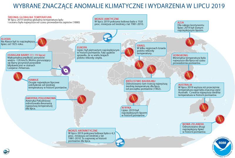 Wybrane znaczące anomalie klimatyczne i wydarzenia w lipcu 2019 (tvnmeteo.pl za noaa.gov)