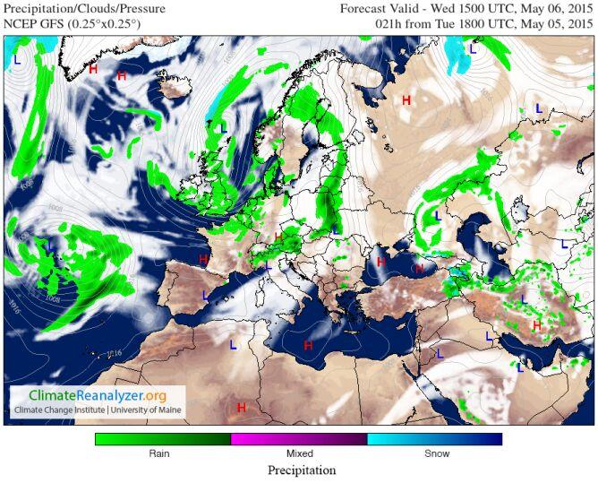 Mapa opadów modelu GFS na godz.17 czasu lokalnego. Kolor ciemnozielony oznacza najsilniejsze opady.