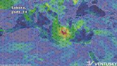 Prognozowane położenie cyklonu w sobotę o godz. 14