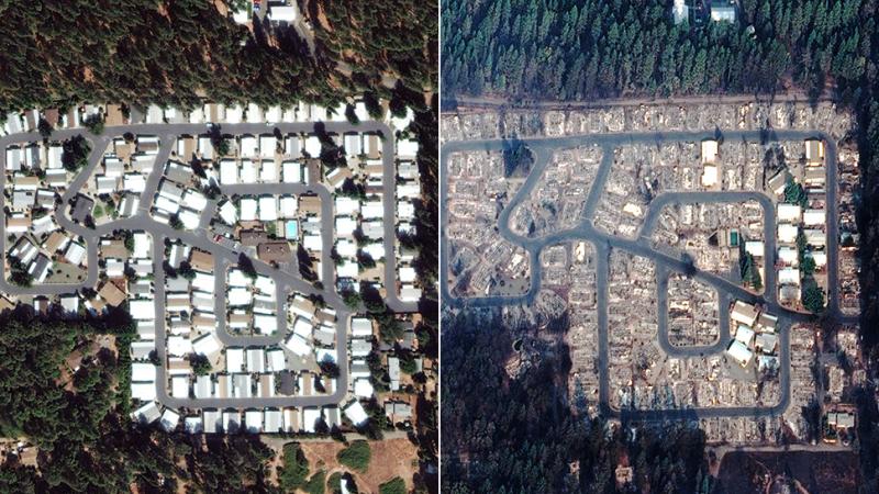 Zdjęcie pokazuje zniszczenia w mieście Paradise