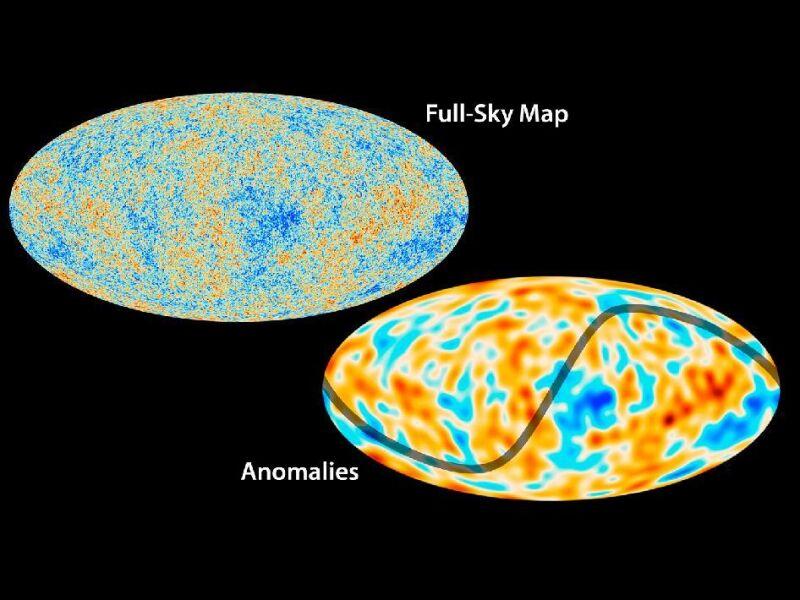 U dołu - mapa promieniowania tła w większej skali. Jedna z anomalii, wskazanych w badaniu, to asymetria w wahaniach temperatur na obu połowach nieba
