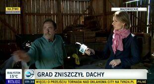 Poniedziałkowe gradobicia na Mazowszu. Są poważne zniszczenia (TVN24)